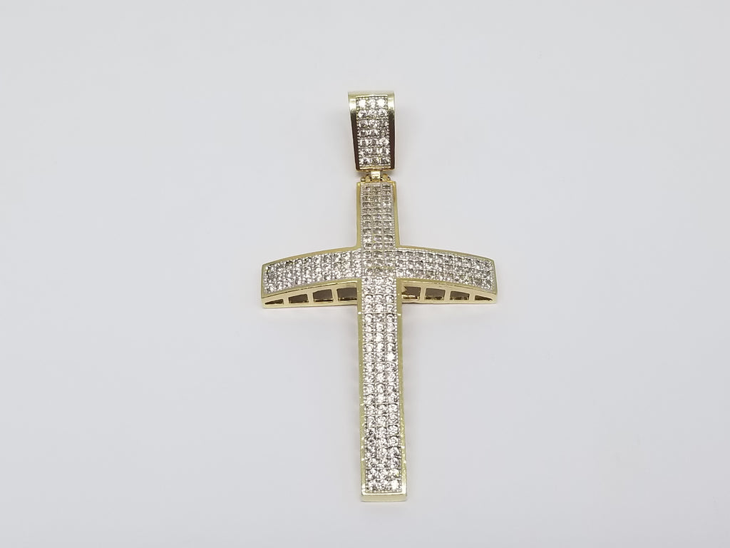 10K Yellow Gold Band Holy Cross Men Pendant - Solid Gold Online