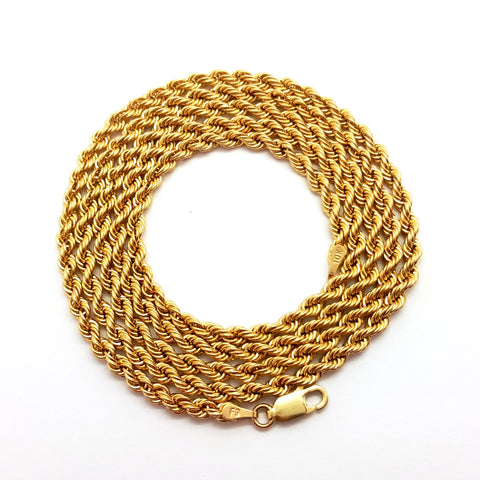 10K Yellow Gold Lobster Clasp Rope Chain 3 mm 16-32 inches