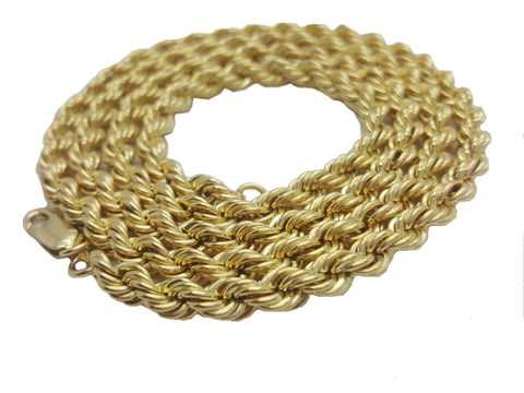 10K Yellow Gold Lobster Clasp Rope Chain 5 mm 16-32 Inches - Solid Gold Online