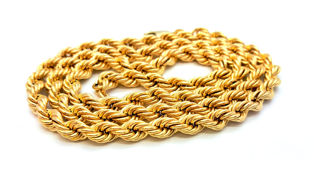 10K Yellow Gold Lobster Clasp Rope Chain 6 mm 16-32 Inches - Solid Gold Online