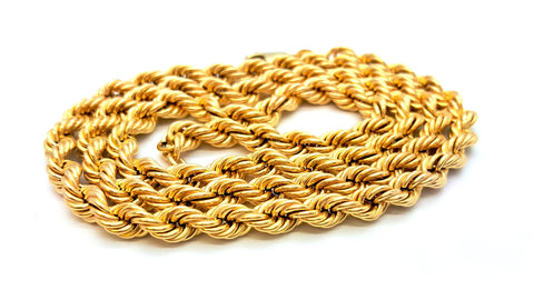 10K Yellow Gold Lobster Clasp Rope Chain 6 mm 16-32 Inches
