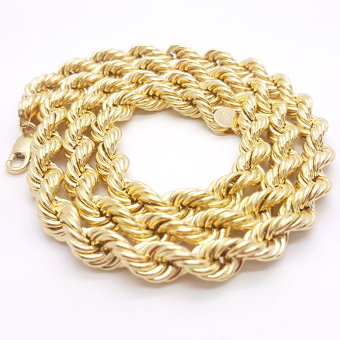 10K Yellow Gold Lobster Clasp Rope Chain 8 mm 16-32 Inches