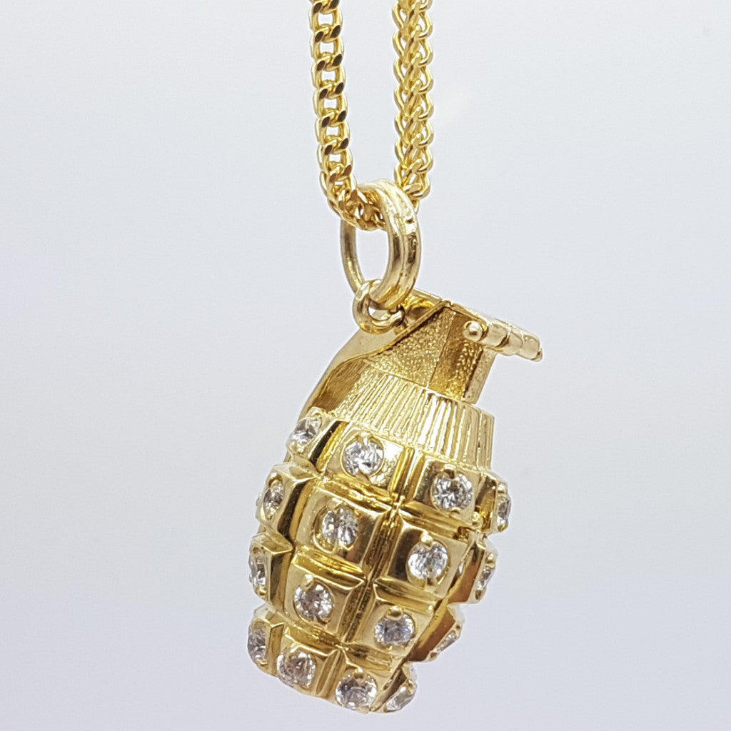 10k Yellow Gold Franco Chain Grenade Necklace