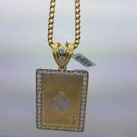 10k Yellow Gold Franco Chain Ace of Clover Necklace