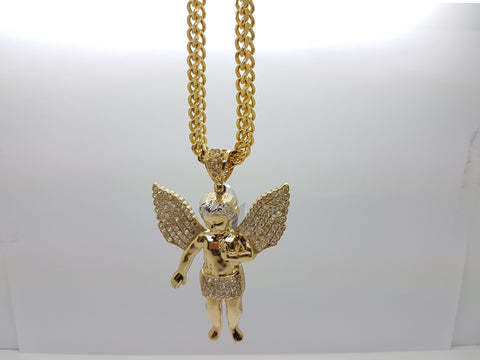 10k Yellow Gold Franco Chain Angel Necklace