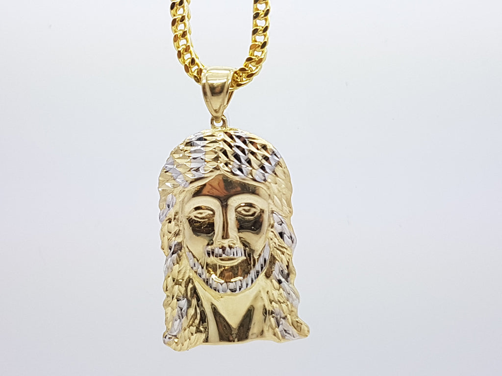 10k Yellow Gold Franco Chain Jesus2 Necklace