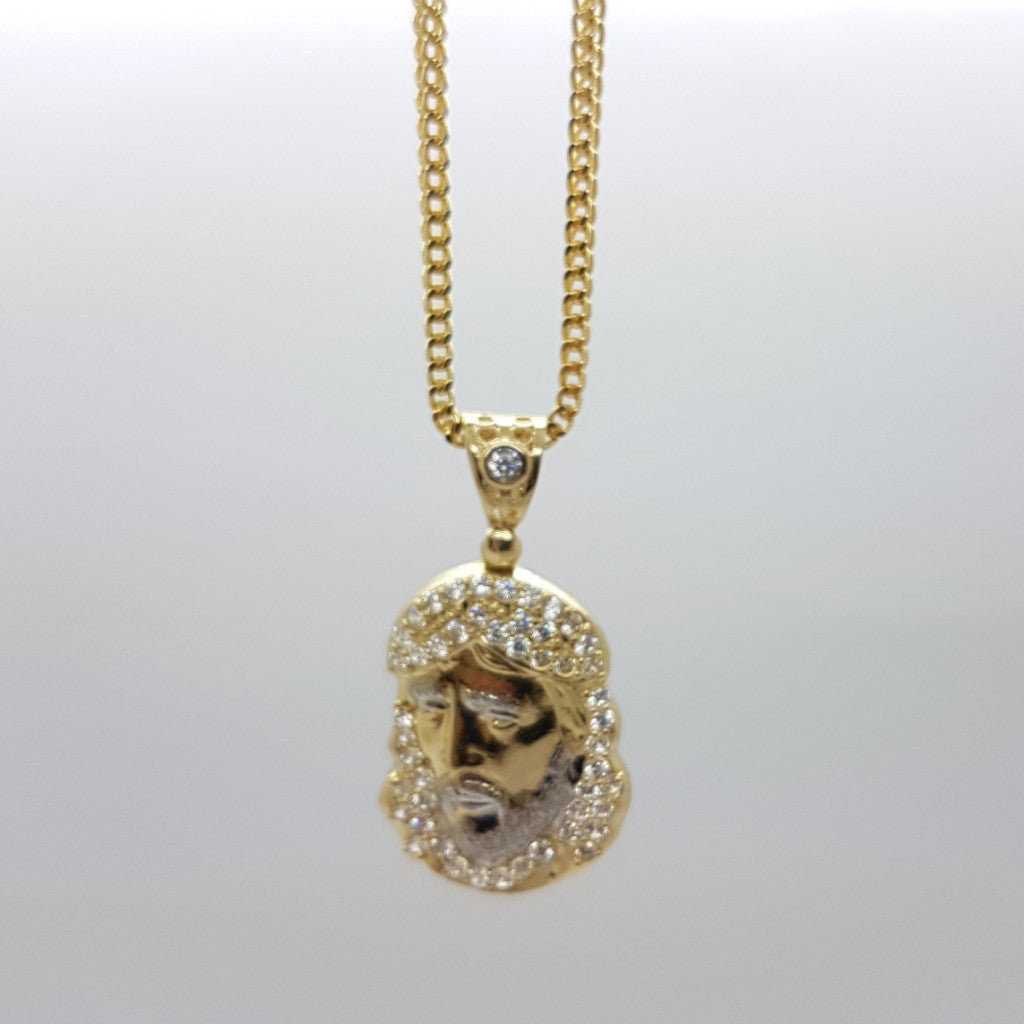 10k Yellow Gold Franco Chain Jesusronde Necklace