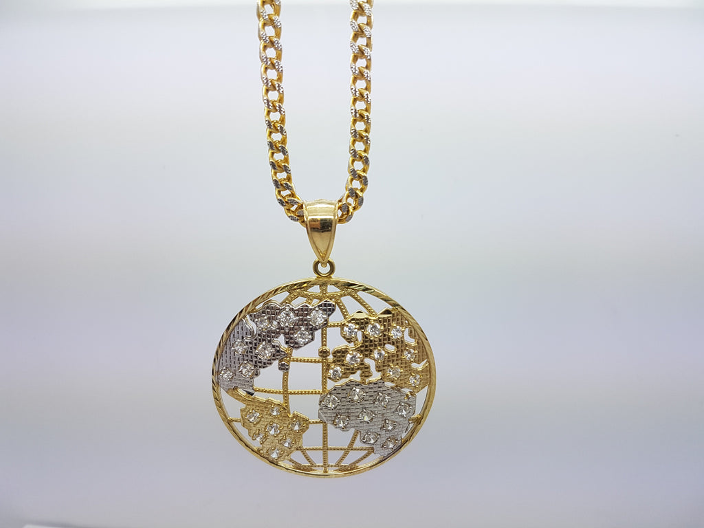 10k Yellow Gold Franco Chain Planet Necklace