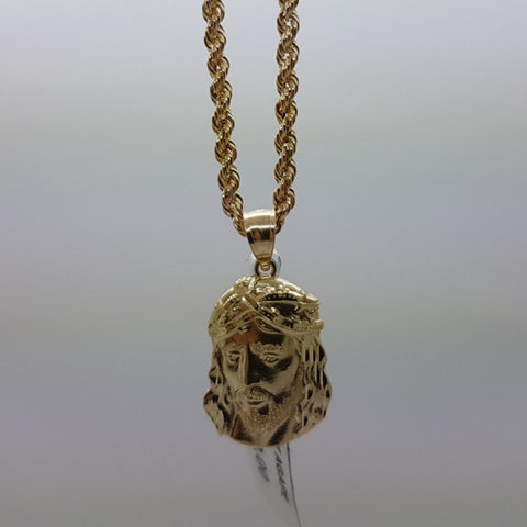 10k Yellow Gold Rope Chain Agape Necklace