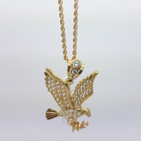 10k Yellow Gold Rope Chain Aigle Necklace