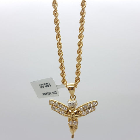 10k Yellow Gold Rope Chain Angel Necklace - Solid Gold Online