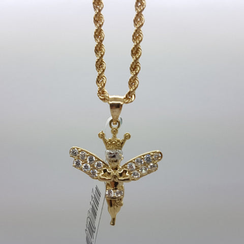 10k Yellow Gold Rope Chain Angel2 Necklace