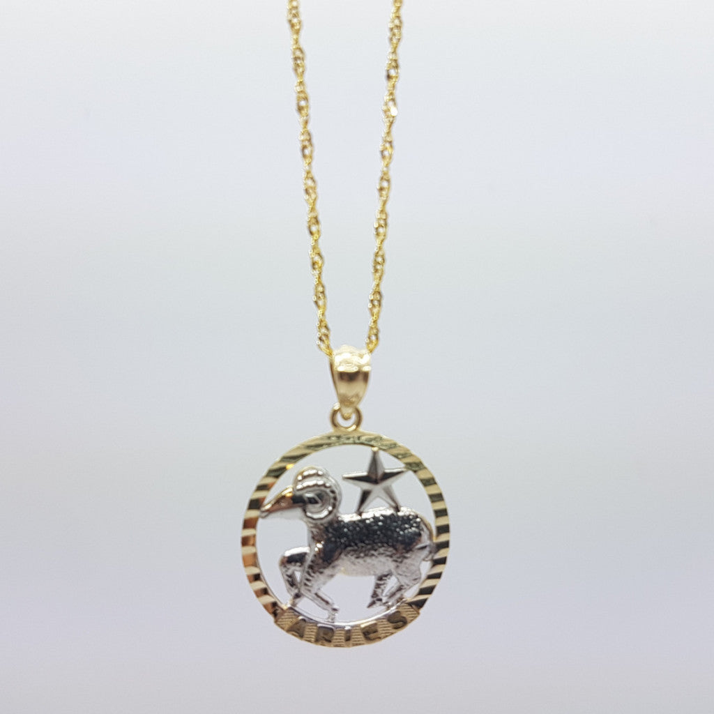10k Yellow Gold Rope Chain Aries Necklace - Solid Gold Online