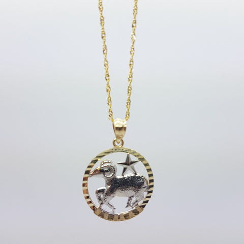 10k Yellow Gold Rope Chain Aries Necklace