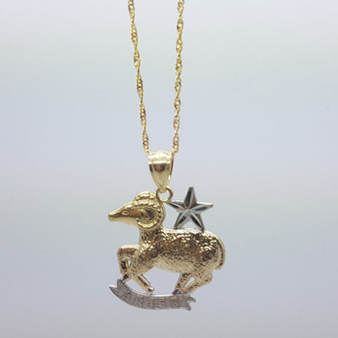 10k Yellow Gold Rope Chain Aries2 Necklace
