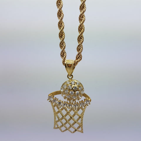 10k Yellow Gold Rope Chain Basket Necklace