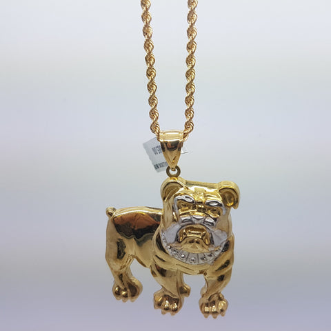 10k Yellow Gold Rope Chain Bulldog Necklace