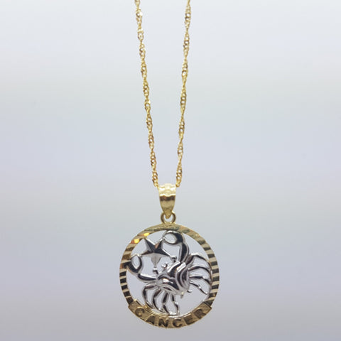 10k Yellow Gold Rope Chain Cancer Necklace