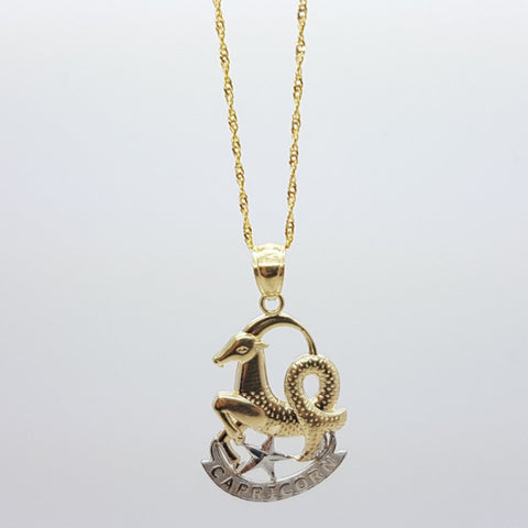 10k Yellow Gold Rope Chain Capricorn2 Necklace