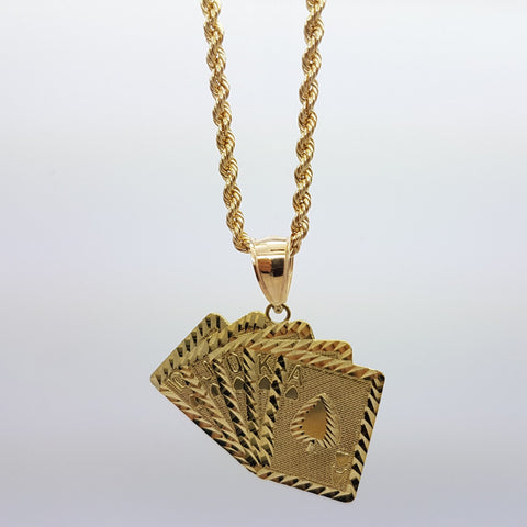 10k Yellow Gold Rope Chain Carte Necklace