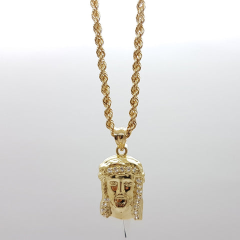 10k Yellow Gold Rope Chain Christian Necklace - Solid Gold Online