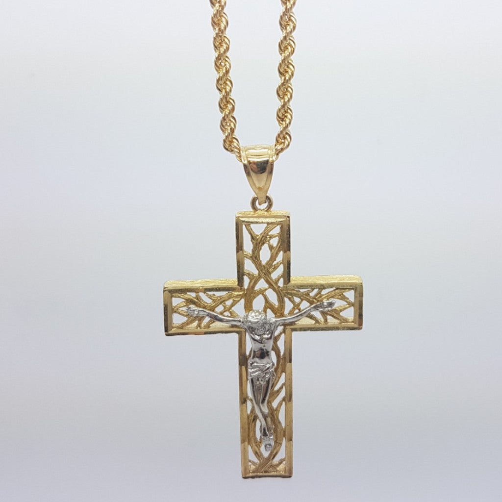 10k Yellow Gold Rope Chain Croix Necklace - Solid Gold Online