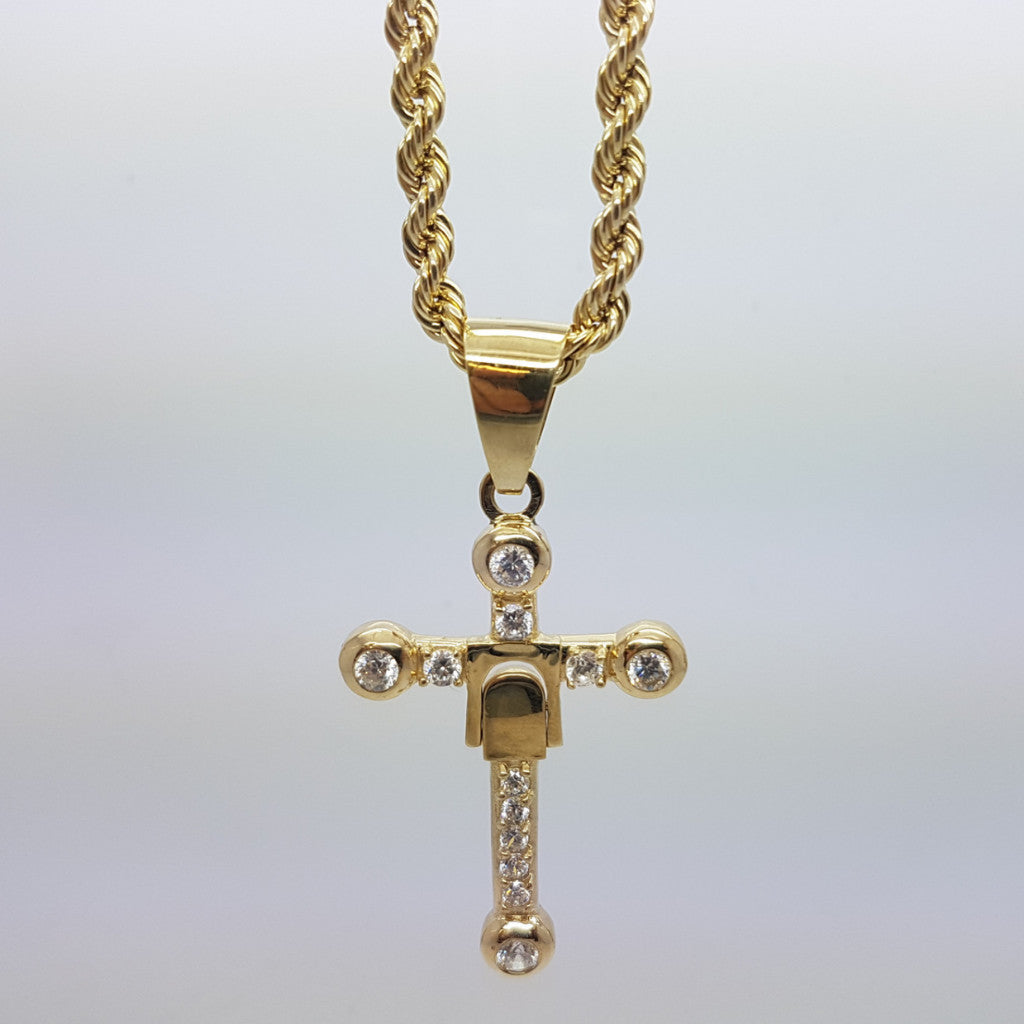 10k Yellow Gold Rope Chain Croix3 Necklace - Solid Gold Online