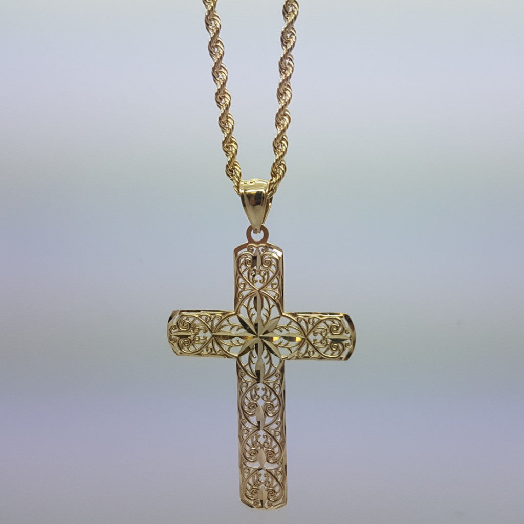 10k Yellow Gold Rope Chain Holy Cross Necklace - Solid Gold Online