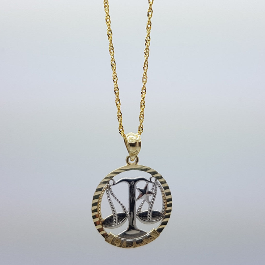 10k Yellow Gold Rope Chain Libra Necklace - Solid Gold Online