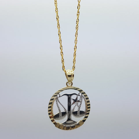 10k Yellow Gold Rope Chain Libra Necklace