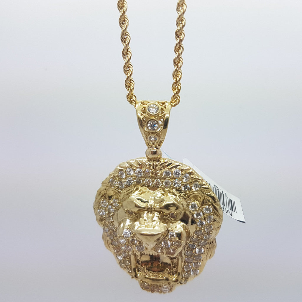 10k Yellow Gold Rope Chain LionKing Necklace - Solid Gold Online