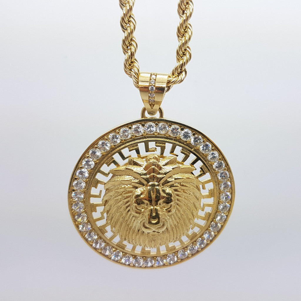 10k Yellow Gold Rope Chain LionVersace Necklace - Solid Gold Online