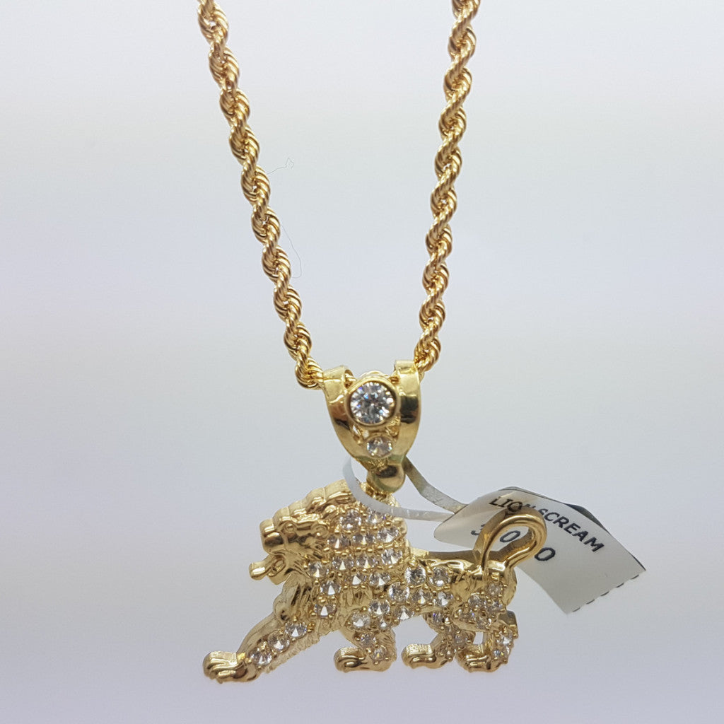 10k Yellow Gold Rope Chain Lion Petit Necklace - Solid Gold Online