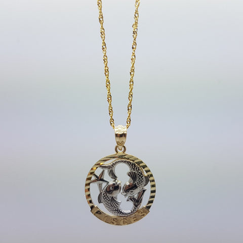 10k Yellow Gold Rope Chain Pisces Necklace