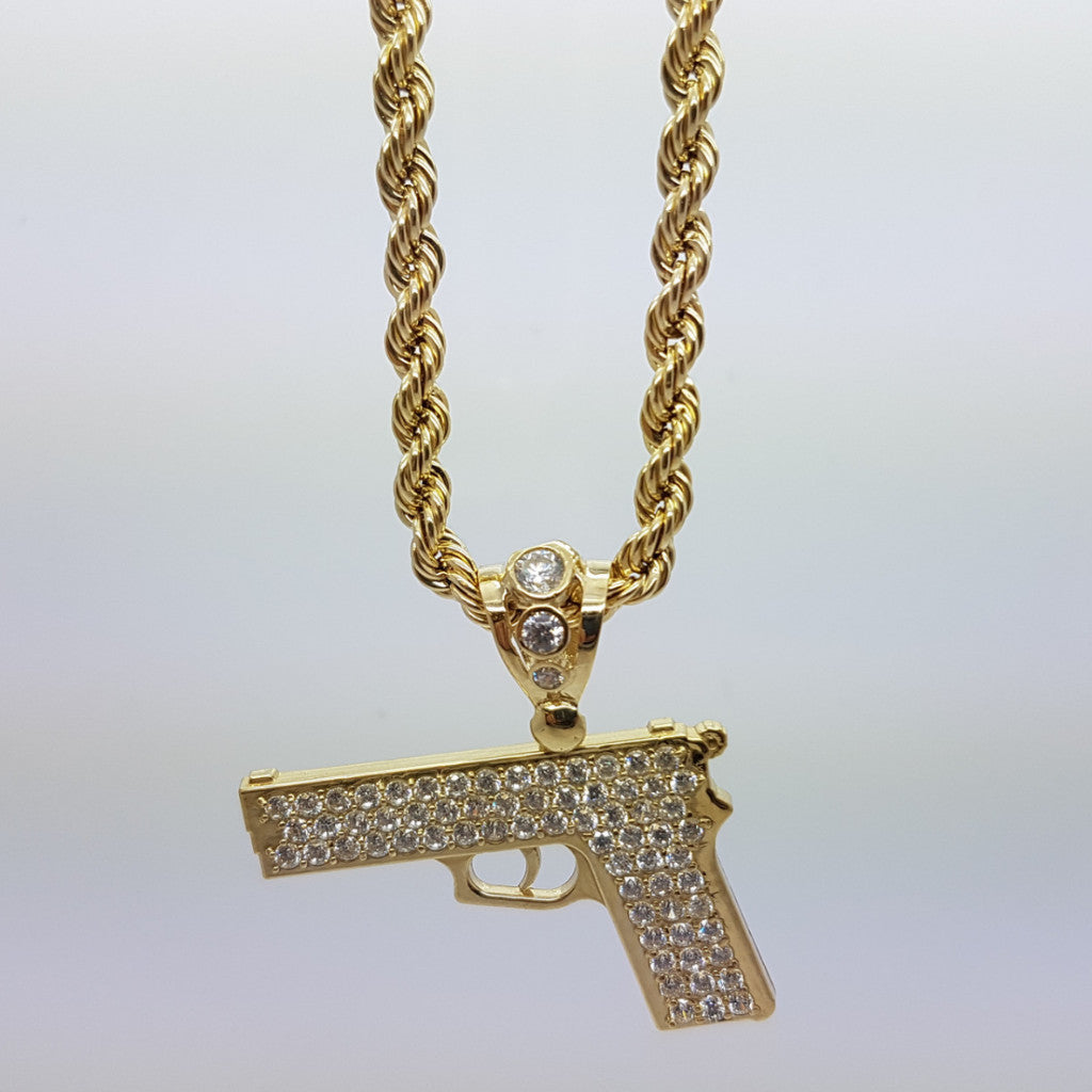10k Yellow Gold Rope Chain Pistolet Necklace - Solid Gold Online
