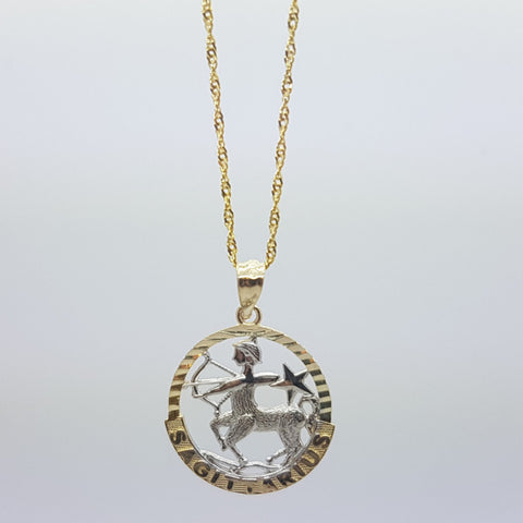 10k Yellow Gold Rope Chain Sagittarius Necklace