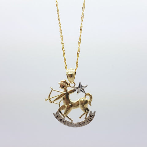 10k Yellow Gold Rope Chain Sagittarius2 Necklace