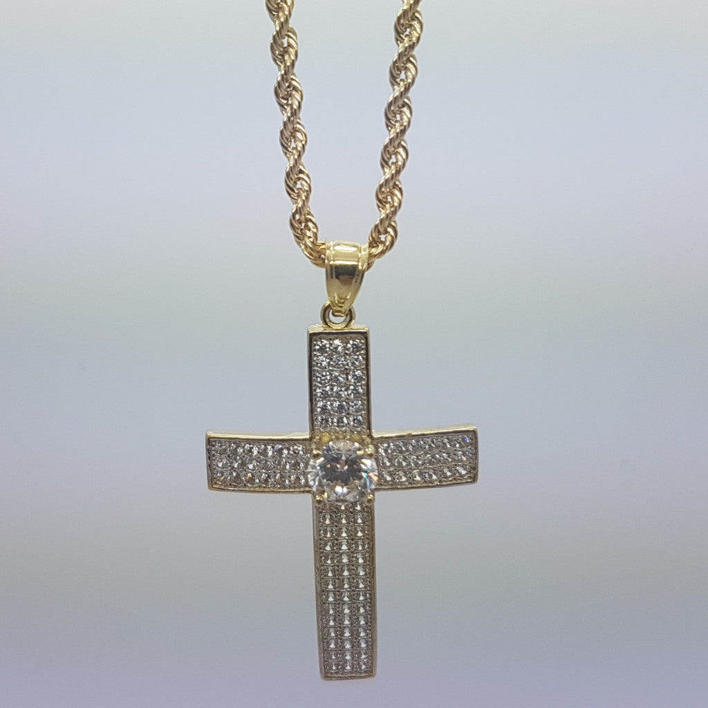 10k Yellow Gold Rope Chain Salib Necklace - Solid Gold Online