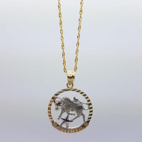 10k Yellow Gold Rope Chain Taurus Necklace