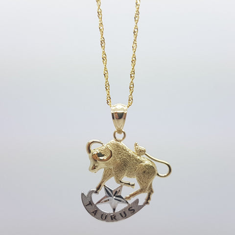 10k Yellow Gold Rope Chain Taurus2 Necklace