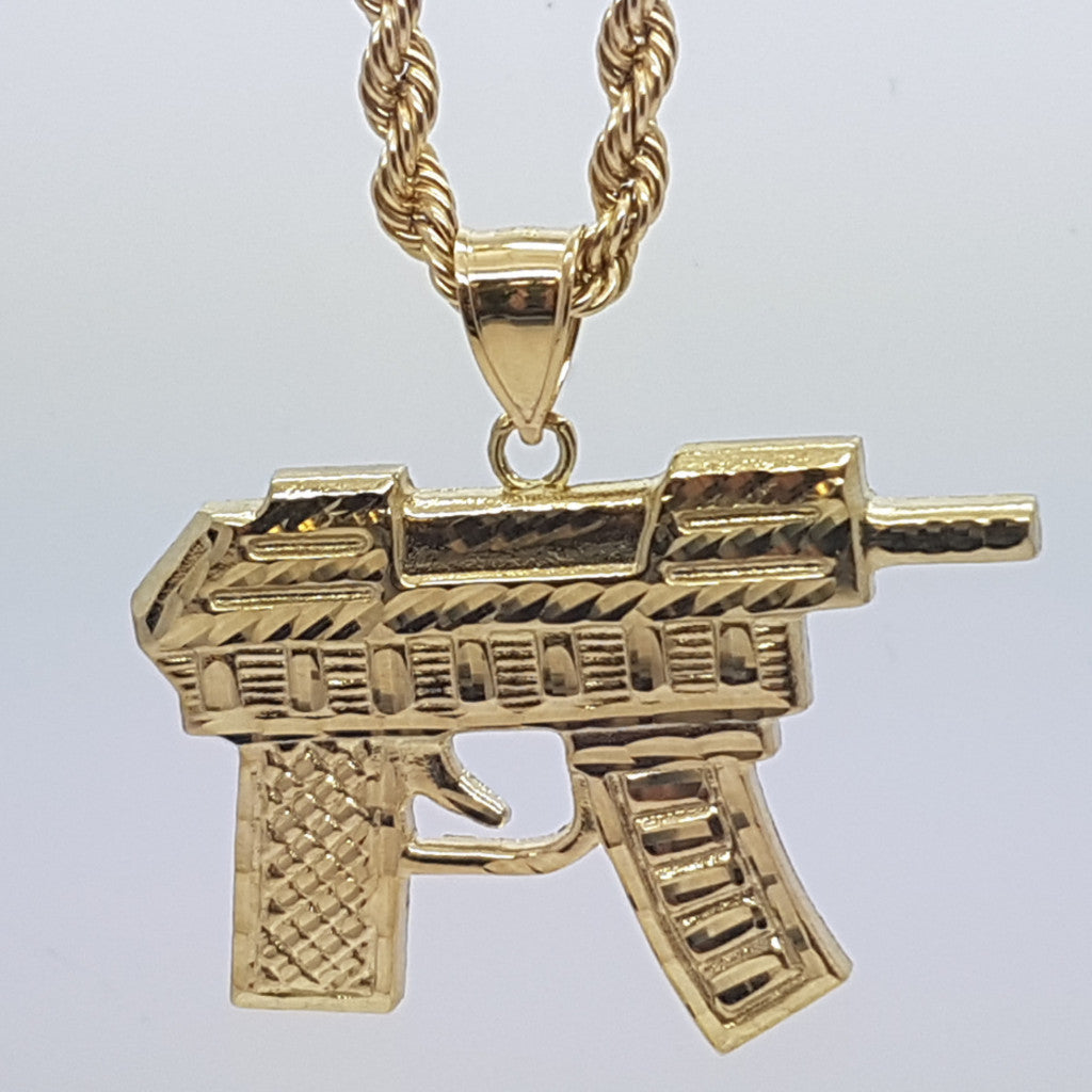 10k Yellow Gold Rope Chain Uzi Necklace - Solid Gold Online