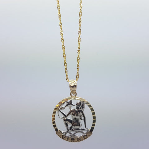 10k Yellow Gold Rope Chain Virgo Necklace