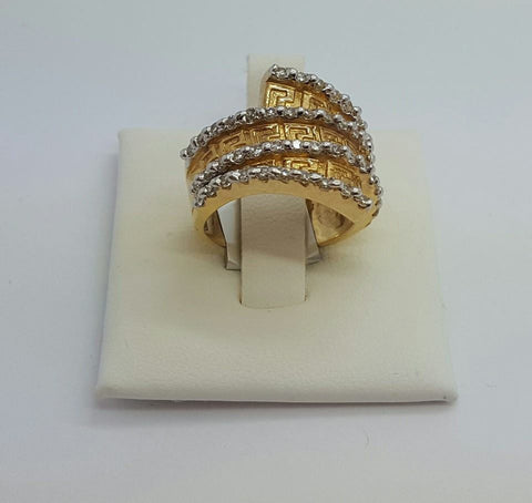 10k Yellow Gold Round Shape Dolma Cubic Zirconia (CZ) Women Ring