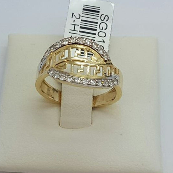 10k Yellow Gold Menta Round Shape Cubic Zirconia (CZ) Women Ring - Solid Gold Online