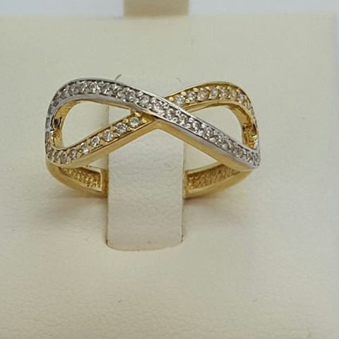 10k Yellow Gold Round Shape Infini Cubic Zirconia (CZ) Women Ring