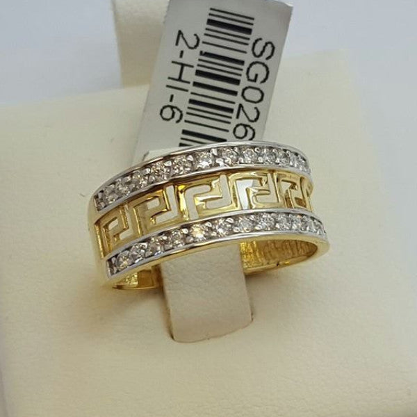 10k Yellow Gold Cubic Zirconia Calitri Round Shape Women Ring - Solid Gold Online
