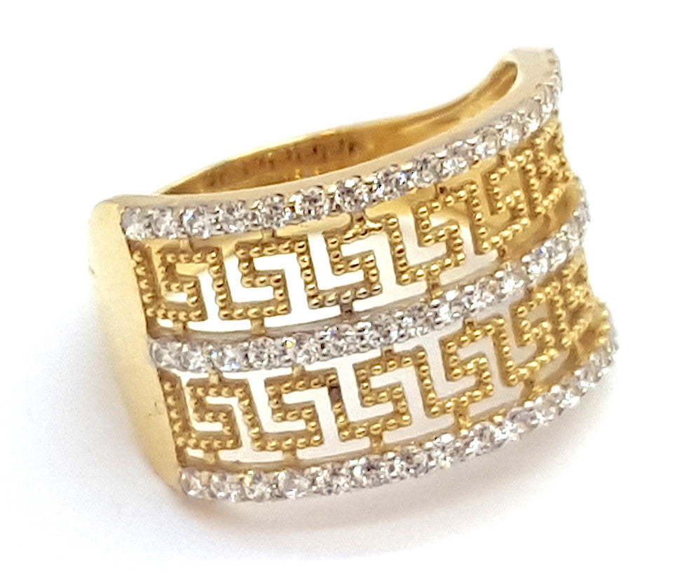 10k Yellow Gold Dubellia Round Shape Ring Cubic Zirconia (CZ) Women Ring - Solid Gold Online