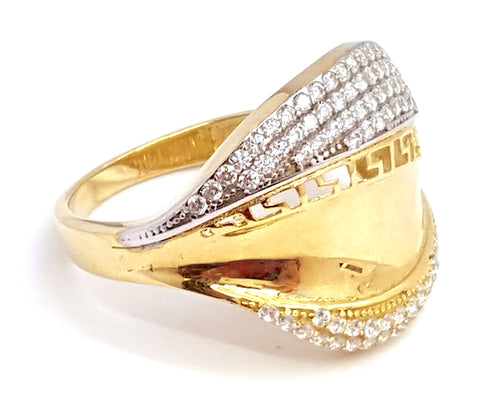 10k Yellow Gold Multi Cubic Zirconia (CZ) Emperial Round Shape Women Ring - Solid Gold Online