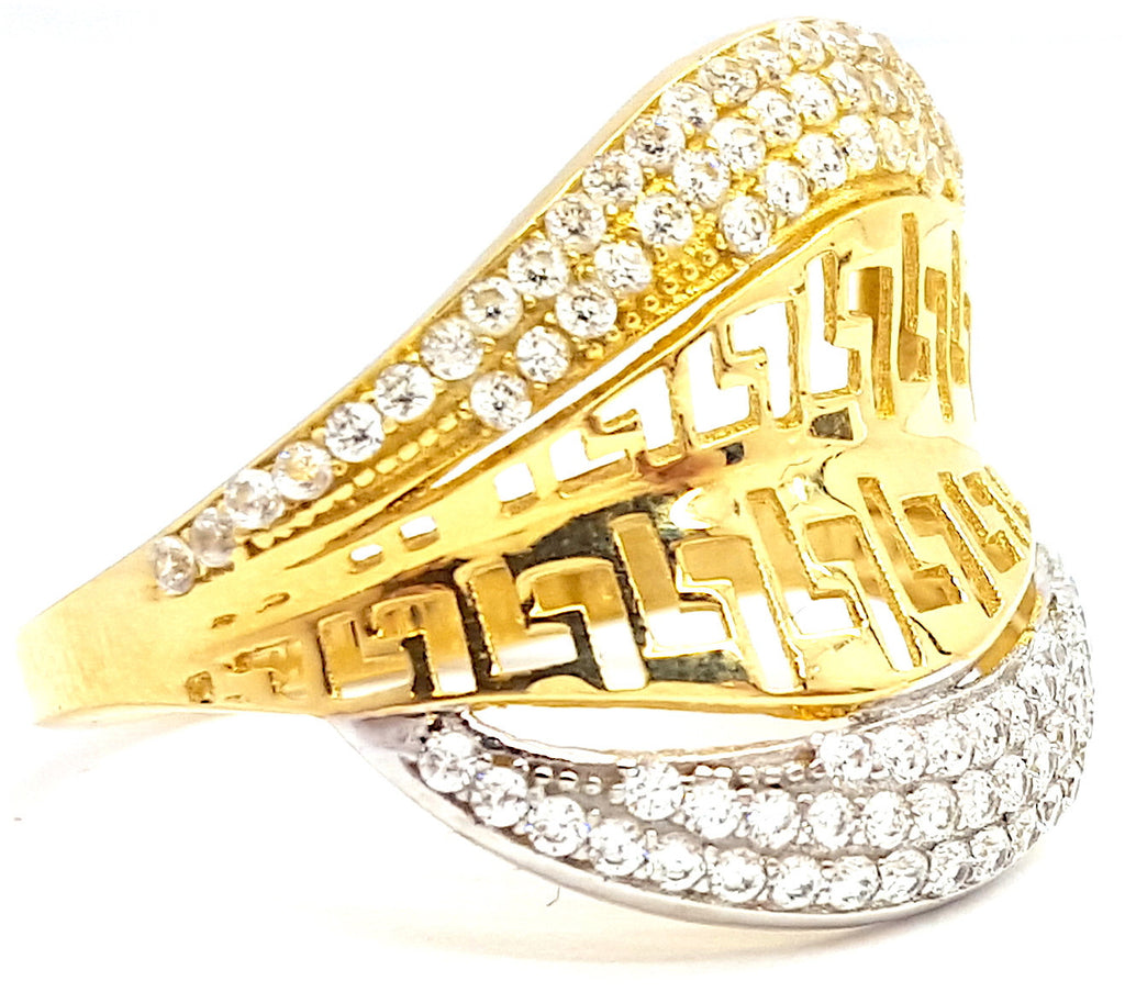 10k Yellow Gold Round Shape Havana Cubic Zirconia (CZ) Women Ring