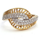 10k Yellow Gold Twisty Round Shape Cubic Zirconia (CZ) Women Ring